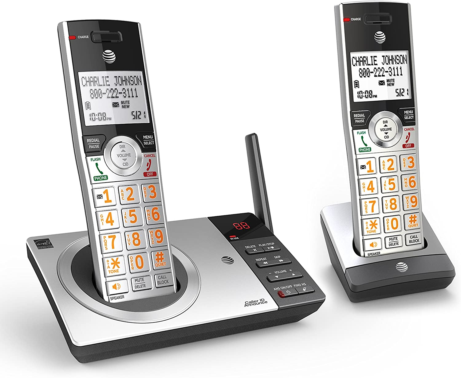 AT&T DECT 6.0 Expandable Cordless Phone with Answering System, Silver/Black with 2 Handset