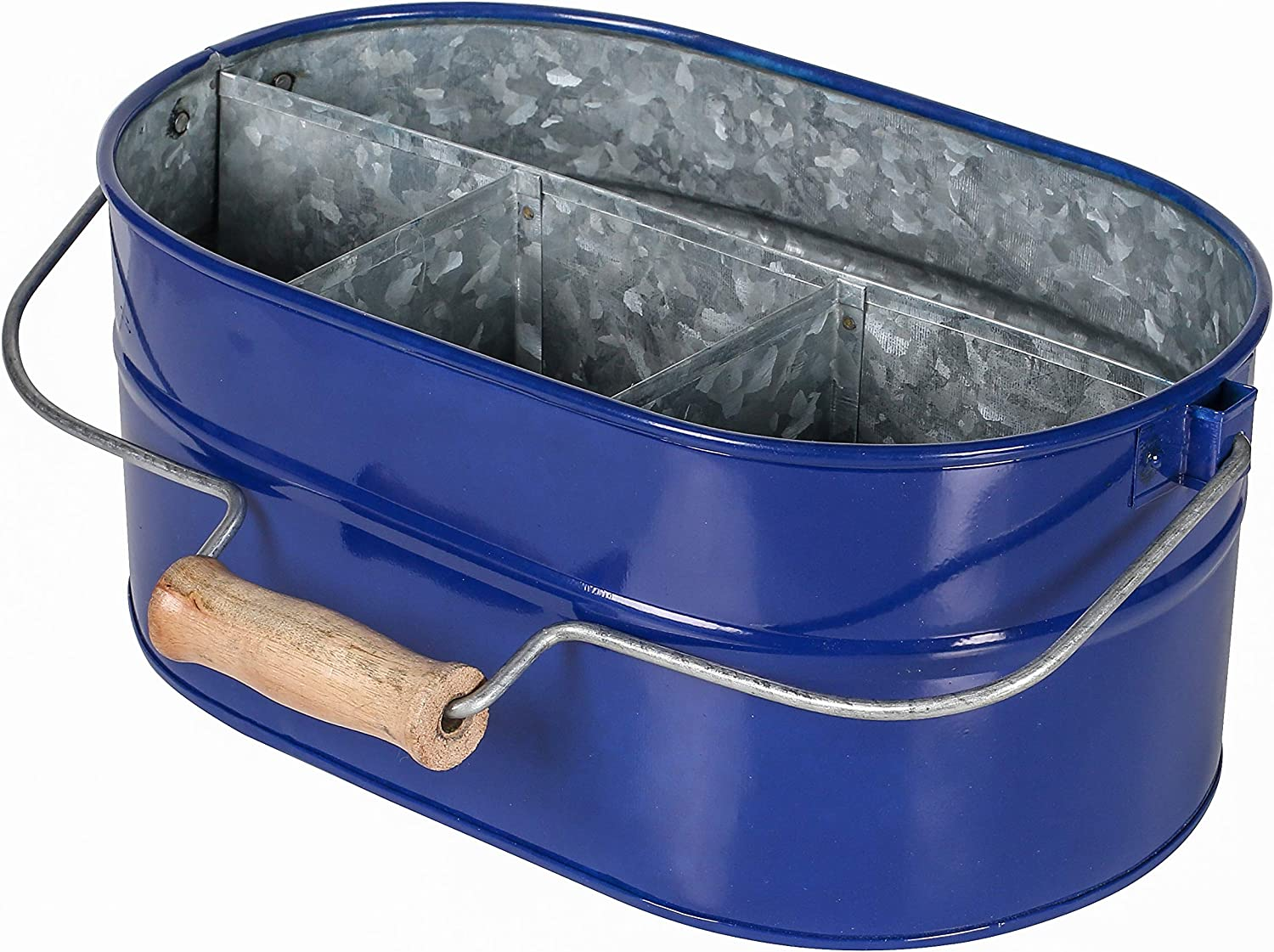 Farmhouse Utensil Caddy -All Serveware - Galvanized Metal Organizer for Kitchen Counter,Metal Caddy, Picnic Caddy -Wooden Handle Indoor/Outdoor Storage For Flatware, Condiments, Party Cutlery - BLUE