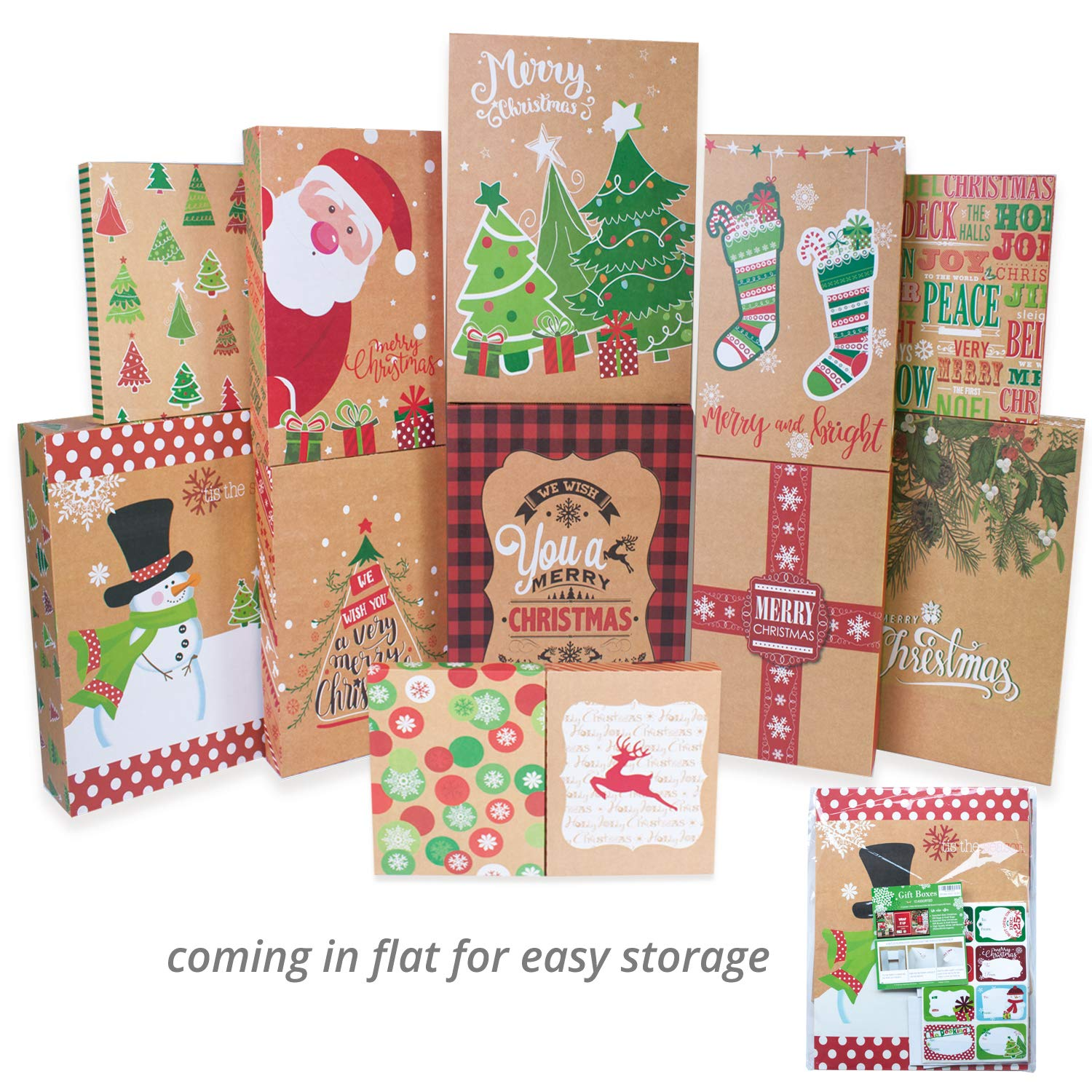 Amazon 12 Kraft Christmas Gift Boxes with Lids for Clothes and