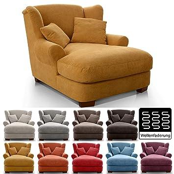 hellgrau Gro/ßer Polstersessel im modernen Design 120 x 99 x 145 Inkl 2 sch/öne Zierkissen CAVADORE XXL-Sessel Oasis