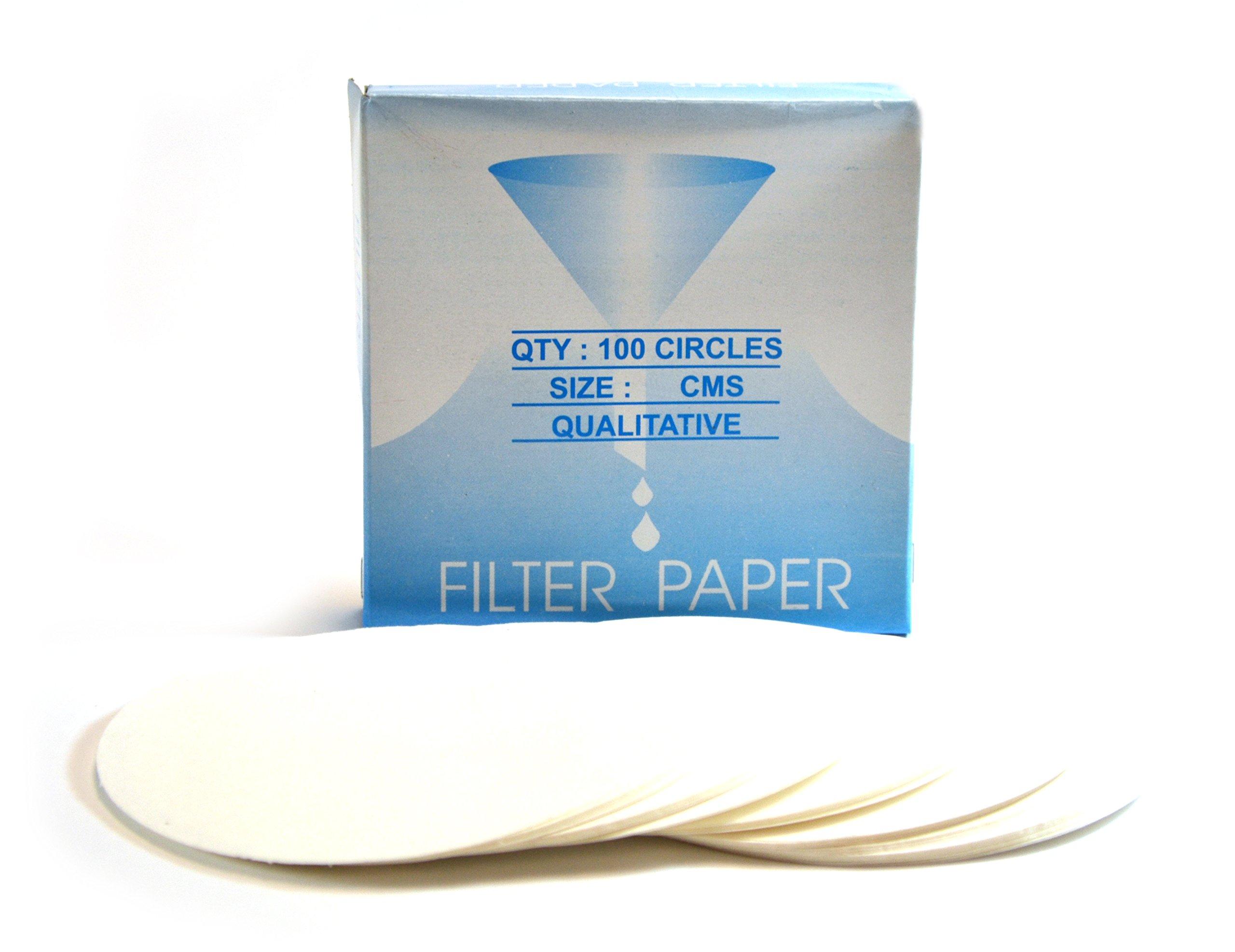 Eisco Labs Premium Qualitative Filter Paper, 12.5cm Dia., Medium Speed (85 gsm), 10? (10 micron) Pore Size - Pack of 100
