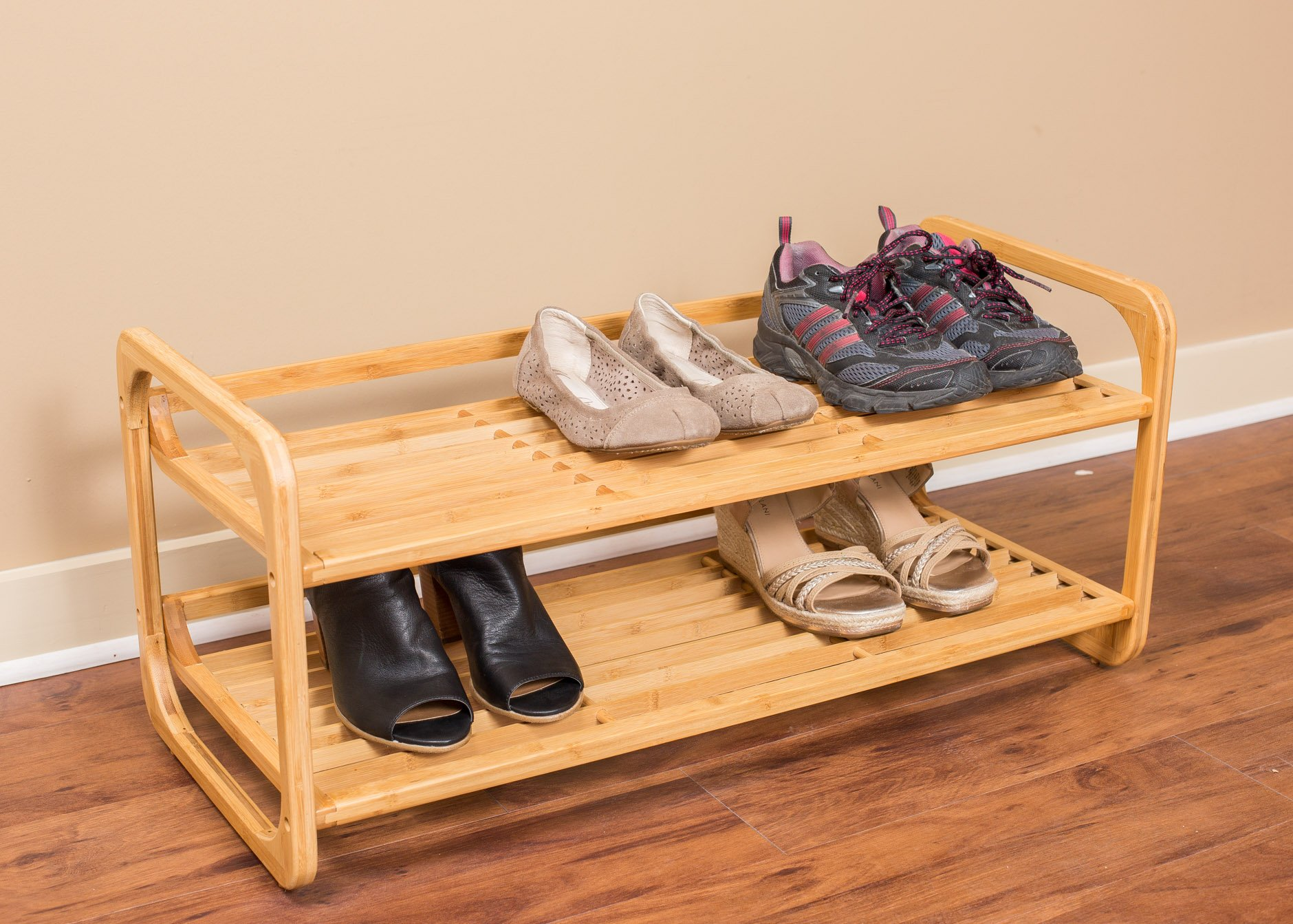 BirdRock Home 2-Tier Bamboo Shoe Rack | Environmentally Friendly | Fits 6-8 Shoes by BirdRock Home (Image #5)