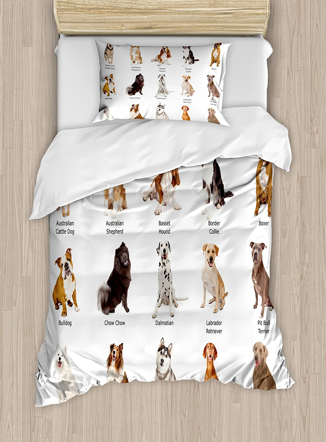 ba460eb4cfdbe Ambesonne Dog Duvet Cover Set Twin Size, A Group of Different Puppy Breeds  Family Type Species Dalmatian Husky Bulldog Image Print Pet Theme, A ...