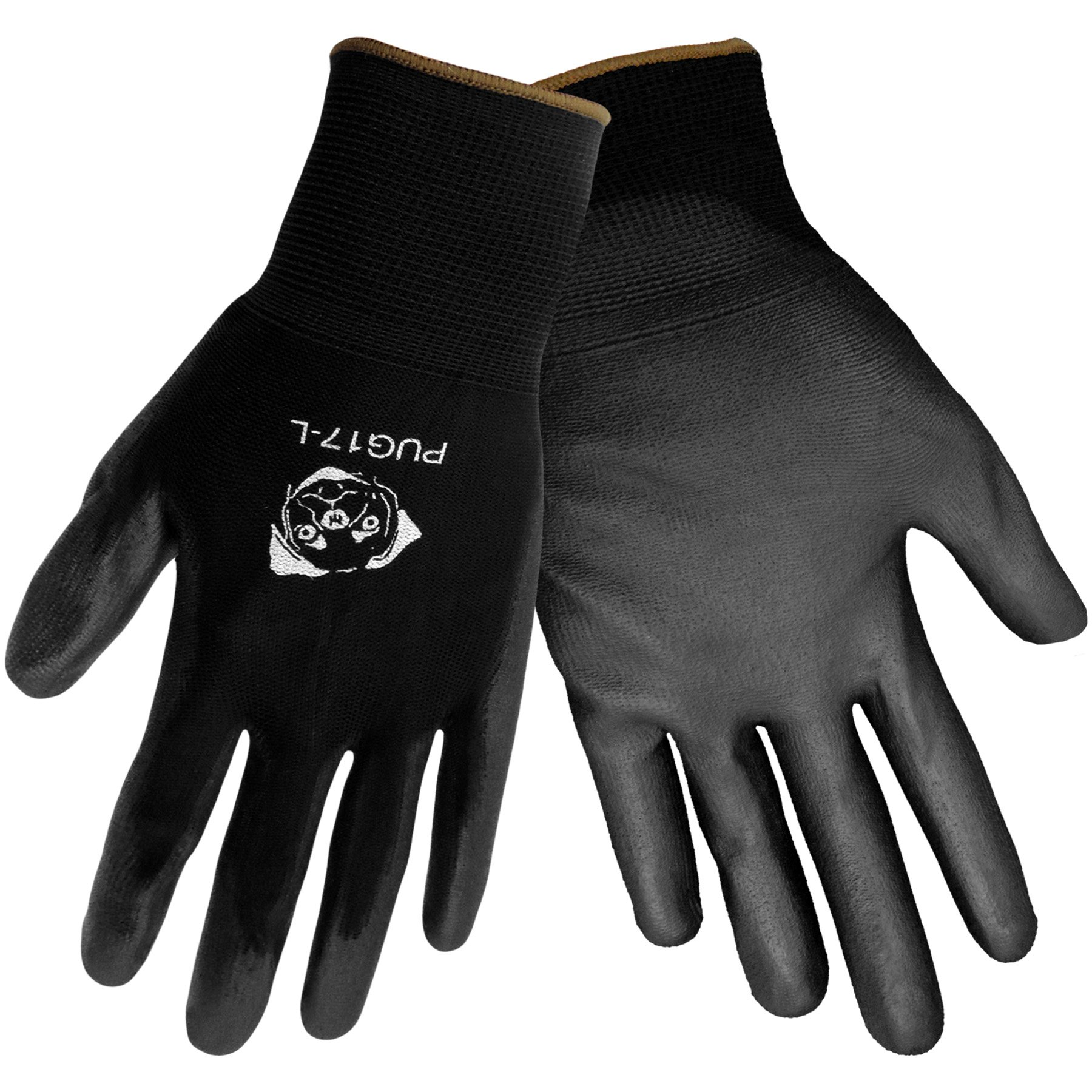 Global Glove PUG17 Polyurethane/Nylon Glove, Work, Large, Black (Case of 144)