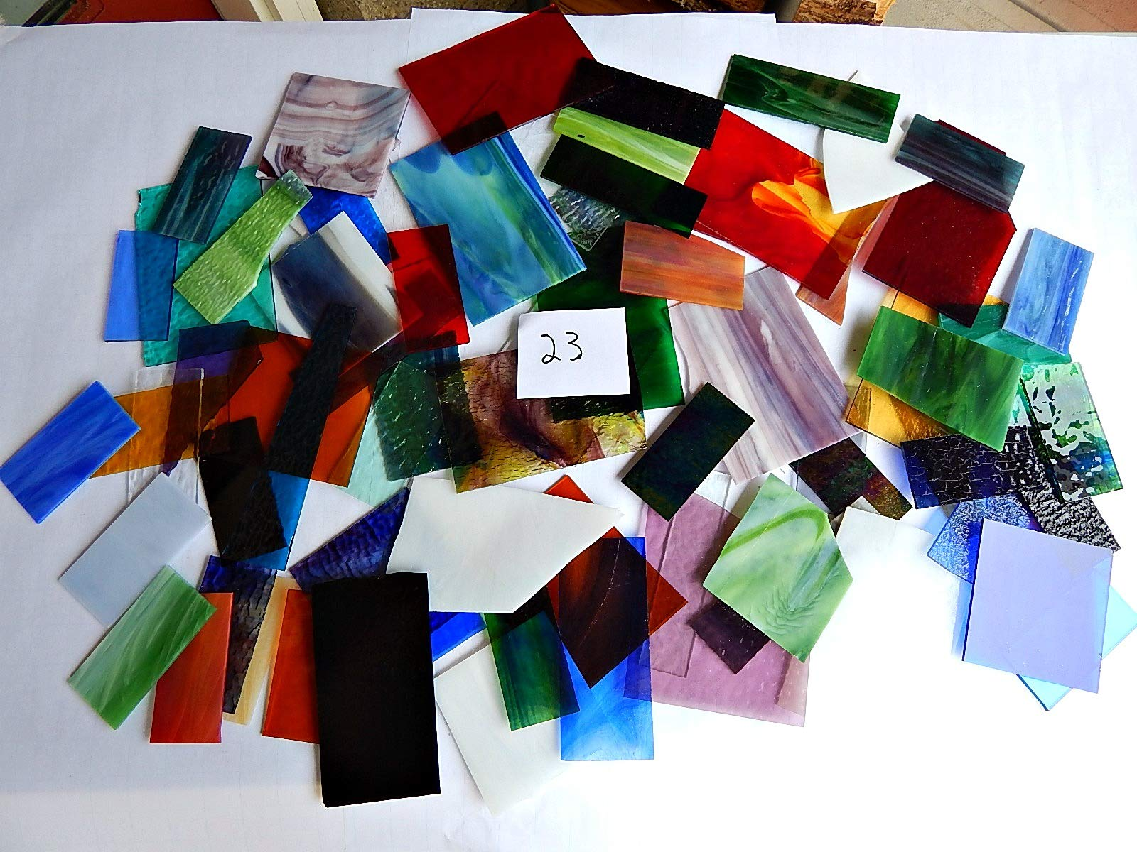 Over 10 LBS Larger Pieces Spectrum Wissmach Stained Glass Mosaic Scrap LOT#23
