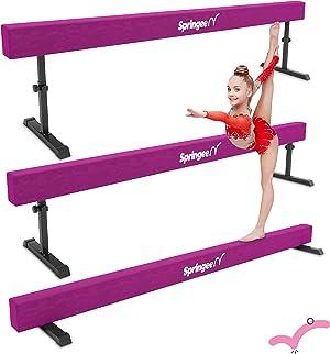 Springee 8ft Adjustable Balance Beam - Gymnastics Equipment for Home - Solid Suede Balance Beam