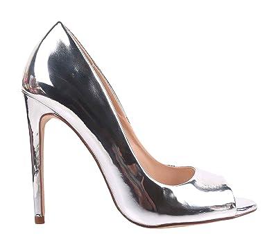 "a7a6e1068e Fashion Sexy Colorful Patent Glossy Slip On Ladies Open Toe Women 4.5""  Fancy Stiletto High"