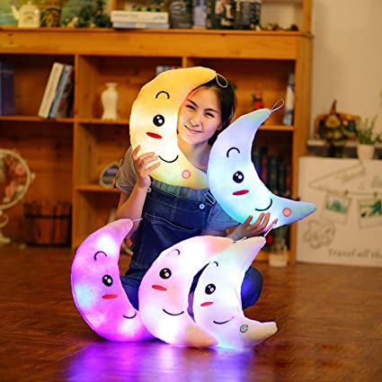 Moon LED Pillow Soft YOYOUG Cute Design Moon Glow LED Pillow Light Soft Cushion Gift Home Plush Children Blue