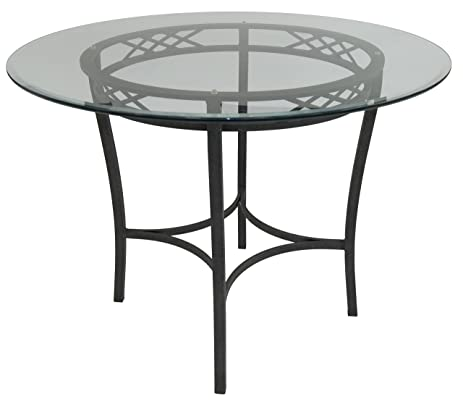 Impacterra Atrium Gathering Table, Counter Height, Smoked Copper/Clear Glass