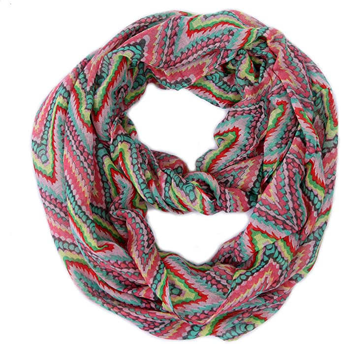 812172cddb2 HDE Women s Lightweight Infinity Scarf Circle Loop Lightweight Pattern Neck  Wrap (Aztec Zig ...