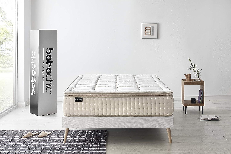 BOBOCHIC PARIS®-Colchón Cashemere-180x200x32 cm .Muelles Ensacados & Viscoelástico Grafeno y Látex, con Sobre Colchon.: Amazon.es: Hogar