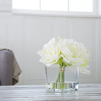 Amazon Pure Garden Lily Floral Arrangement With Glass Vase