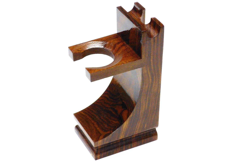 Quality Wood Shaving Razor and Shaving Brush Stand.Walnut Finish savillewhittle