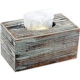 MyGift 装饰性质朴扭曲木矩形面部纸巾盒盒盒支架