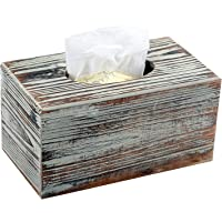 Decorative Rustic Torched Wood Rectangular Facial Tissue Box Cover Holder