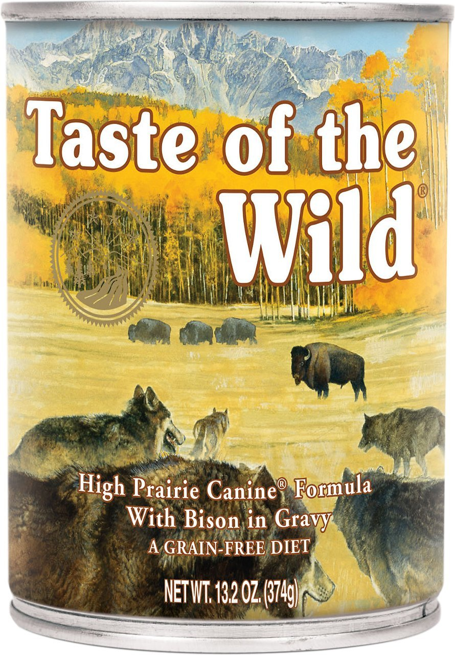 Taste of the Wild High Prairie Bison in Gravy Wet Dog Food Cans 12 Pack 13.2 Ounce Ea. Grain Free Dog Food!
