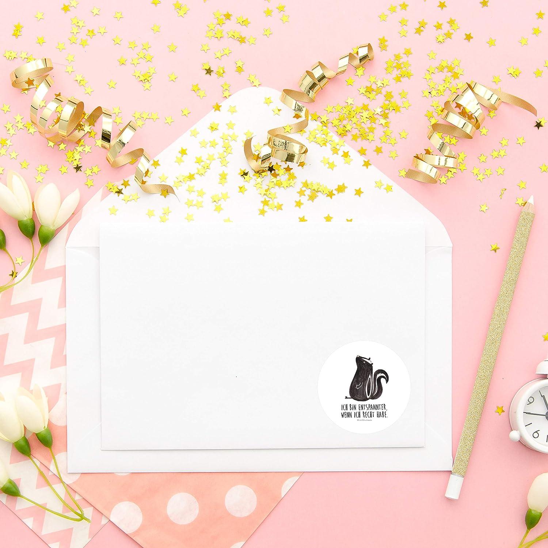 Farbe Wei/ß Mr 40mm Rund Aufkleber Stinktier sitzend mit Spruch Panda Aufkleber Etikett /& Mrs