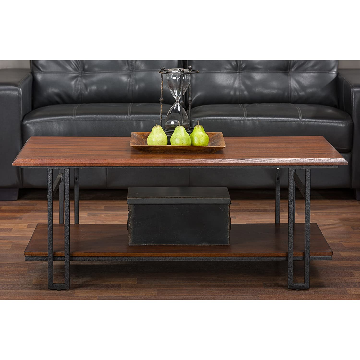 Baxton Studio Newcastle Wood and Metal Coffee Table, Brown YLX-2646-CT