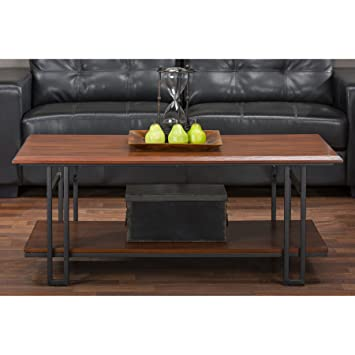 Amazon Com Baxton Studio Newcastle Wood And Metal Coffee Table
