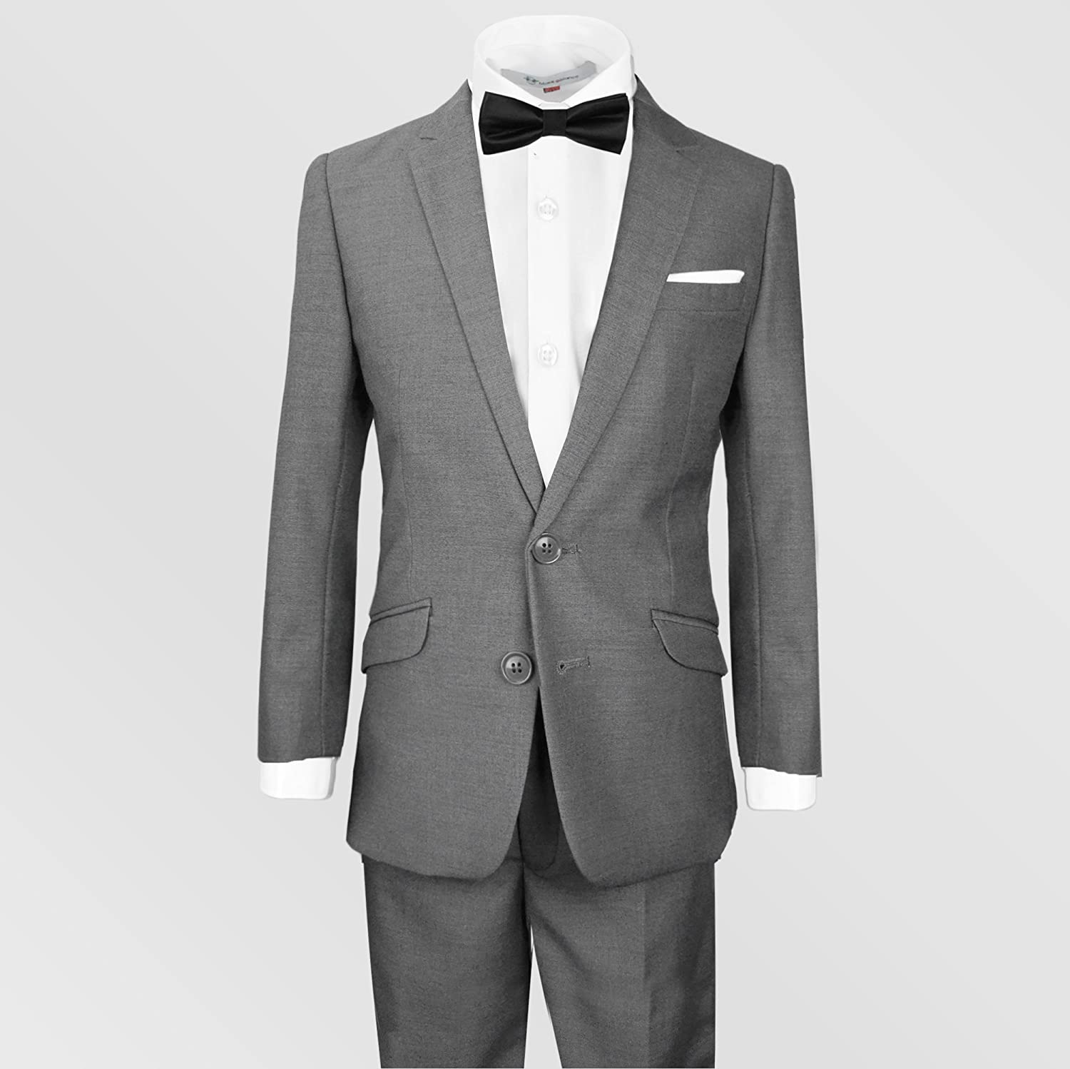 8956d2df82 Amazon.com: Black n Bianco Signature Boys' Slim Tuxedo Suit with Bow Tie  (14, Dark Gray (Charcoal)): Clothing