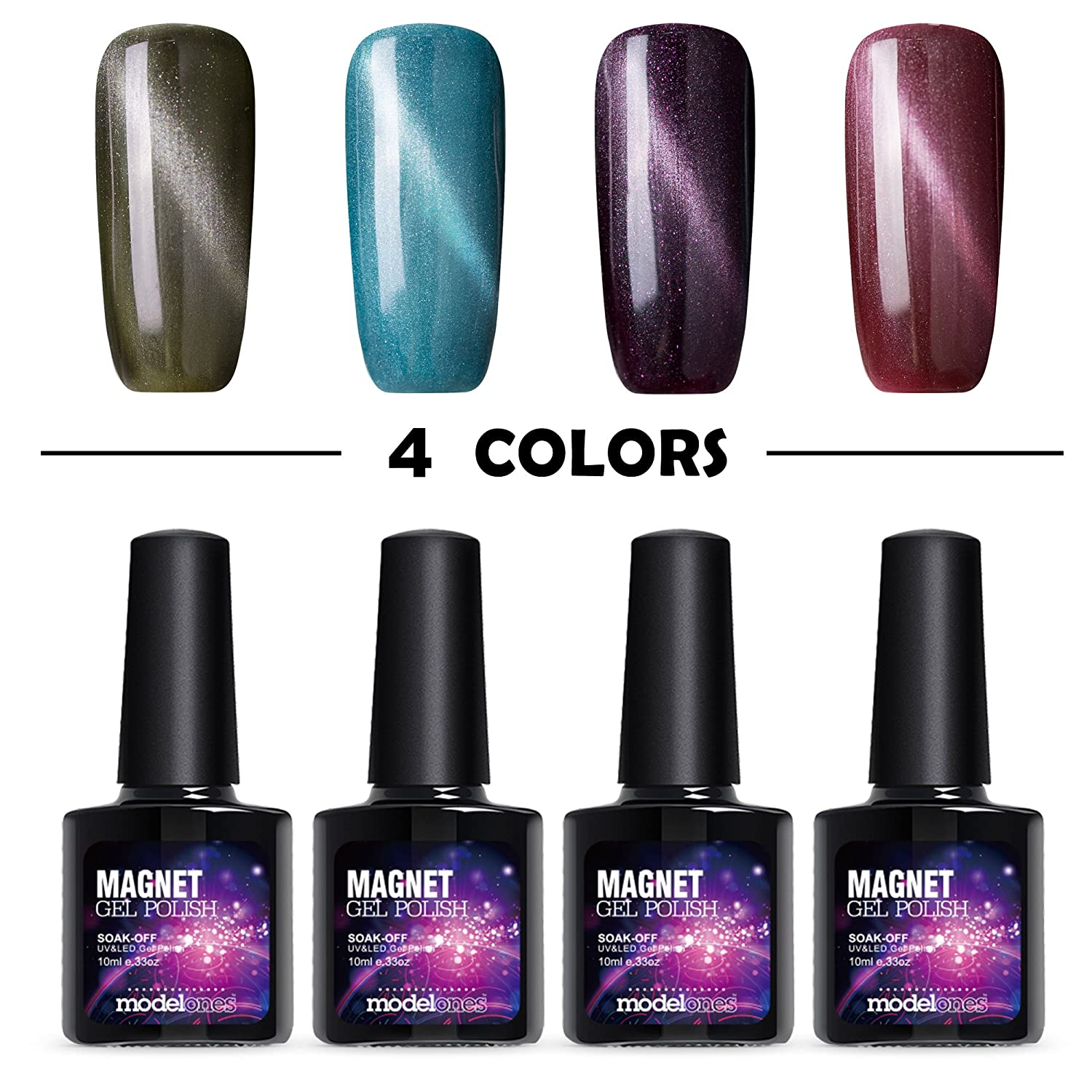 Amazon.com : Modelones Magnetic Gel Nail Polish Set 3D Lacquer Nail ...