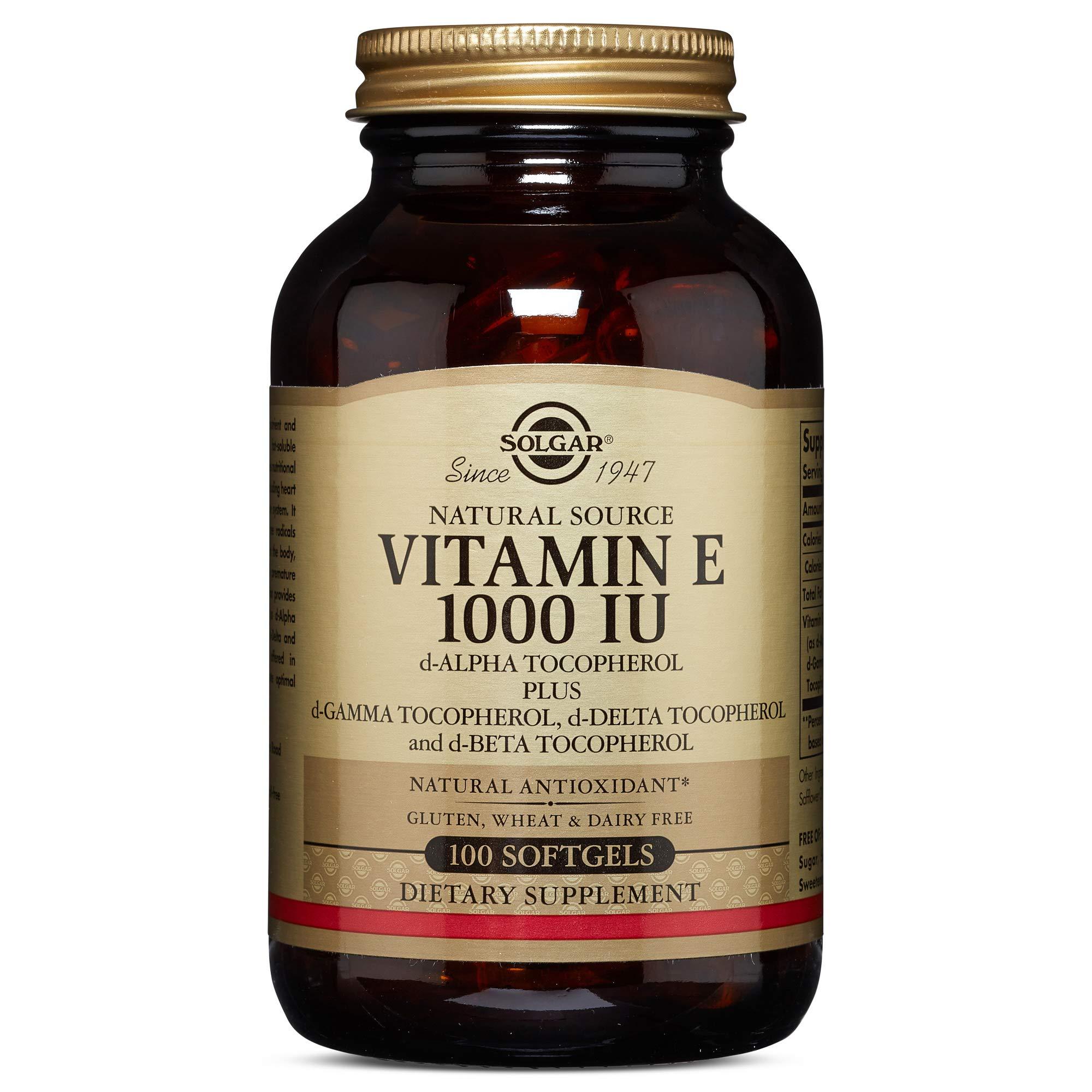 Solgar - Vitamin E 1000 IU (D-alpha Tocopherol and Mixed Tocopherols), 100 Vegetarian Softgels