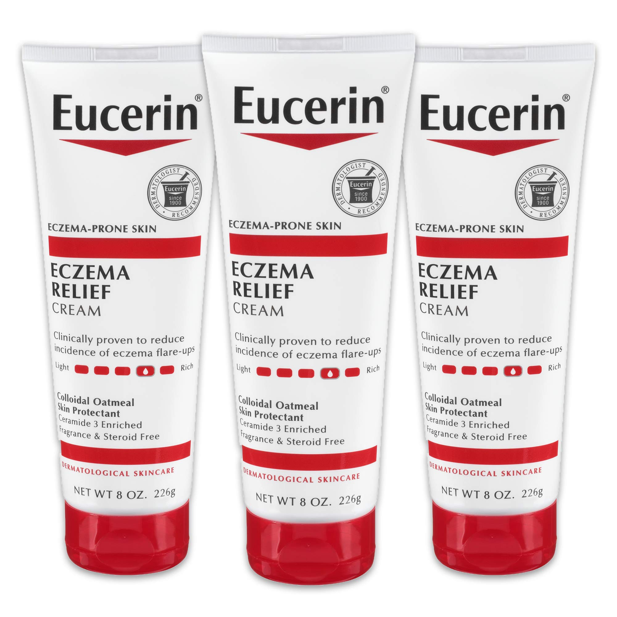 Eucerin Eczema Relief Cream - Full Body Lotion for Eczema-Prone Skin - 8 oz. Tube (Pack of 3)