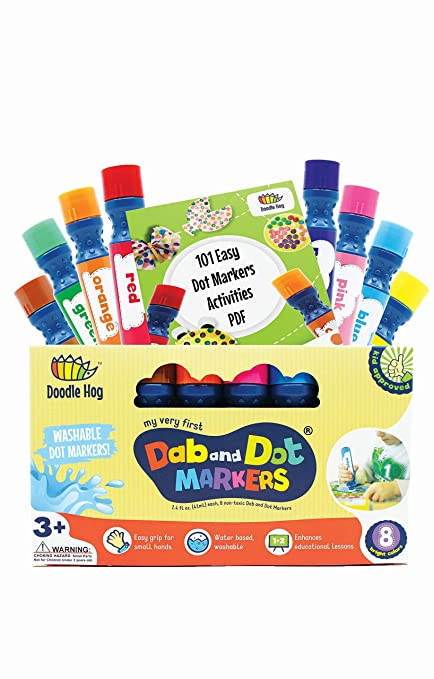 amazon com dab and dot markers washable 8 colors pack set includes