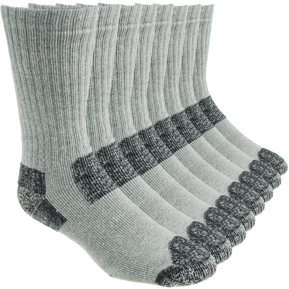 Working Person's 8766 Grey 4-Pack Steel Toe Crew Socks - Made In The USA (Large) by The Working Person's Store (Image #1)