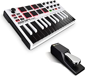 Beat Maker Bundle – 25 Key USB MIDI Keyboard Controller With 8 Drum Pads and Sustain Pedal - Akai Pro MPK Mini MKII LE White + M-Audio SP-2