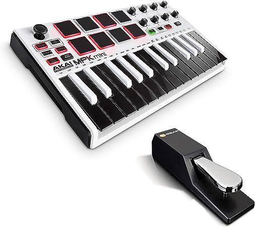 AKAI Professional MPK Mini MKII LE White + M-Audio SP-2 - Teclado Controlador MIDI USB Portátil con 25 Teclas, 8 Pads MPC, 8 potenciómetros, Joystick ...