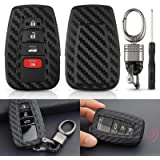 EEEKit Carbon Fiber Looks Silicone Key Fob Chain Cover Case for 2018-2019 Toyota Camry/Camry Hybrid/C-HR, 2016-2018…