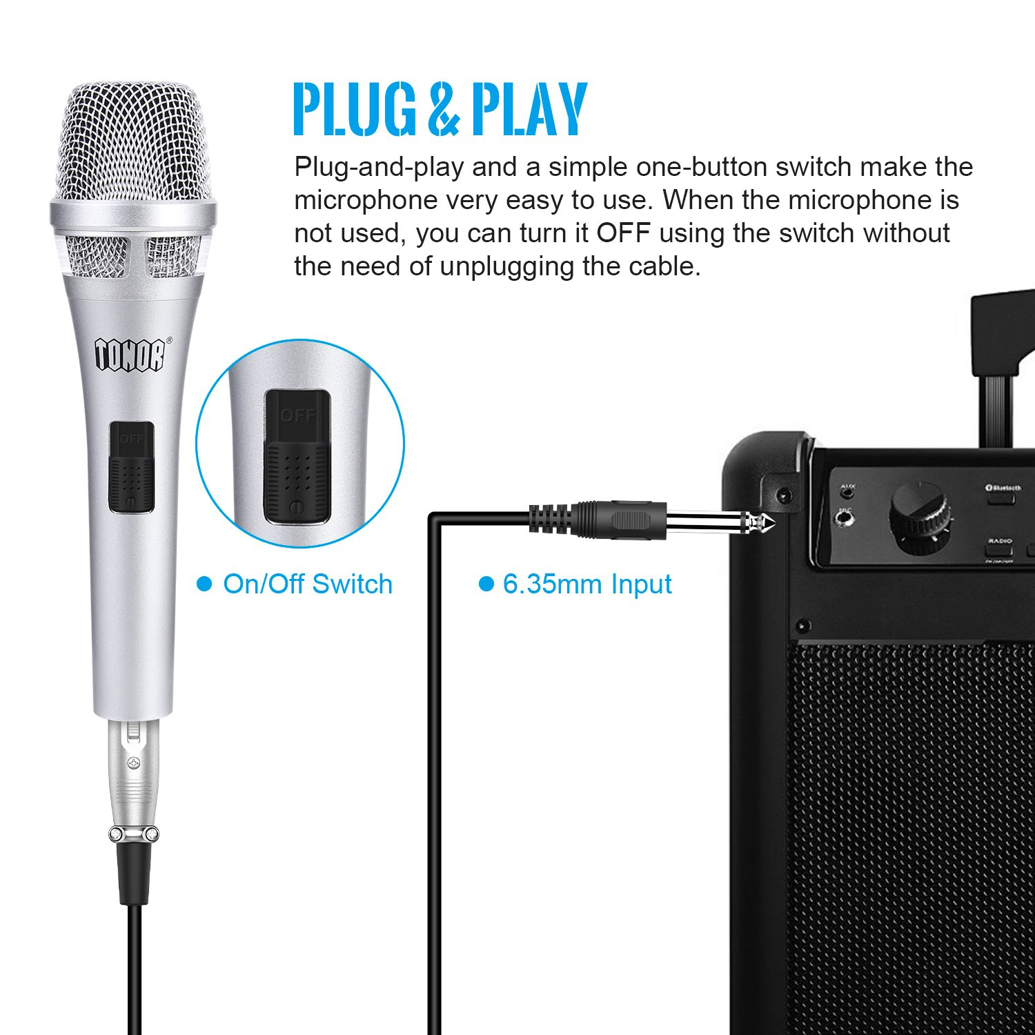 Amazon.com: TONOR Microphone Wired Dynamic Vocal Cardioid Handheld ...