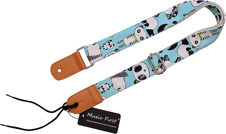 Motif original /« Panda /» Sangle pour ukul/él/é Music First En coton souple et cuir v/éritable