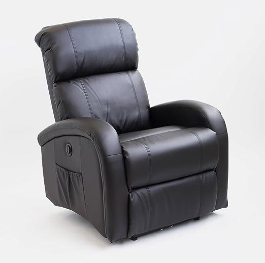 Astan Hogar Sillón Relax Con Reclinación Eléctrica, Masaje Y Termoterapia. Modelo Adara AH-AR30500NG, Relleno Poliuretano, NEGRO,