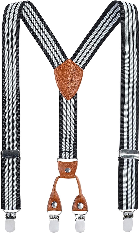 Getreide Leder Elastisch Einstellbar Mit 4 Clips Y Form Hosentr?ger Kinder Klammern Clip auf Hosentr?ger