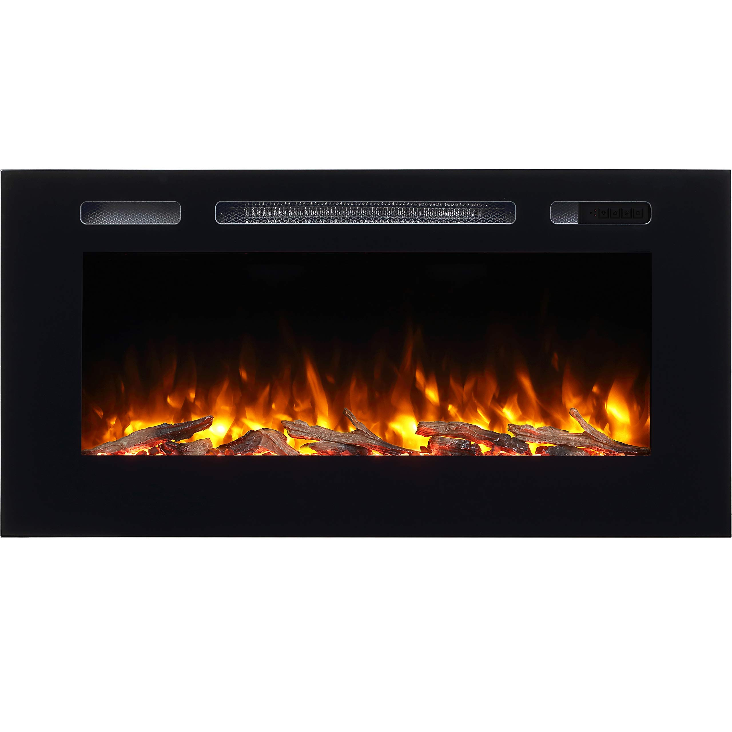 "Hawnby Recessed Electric Fire E140R 220/240Vac, 1&2kW, Log Set & Crystal, 7 Day Programmable Remote Control (40"")"