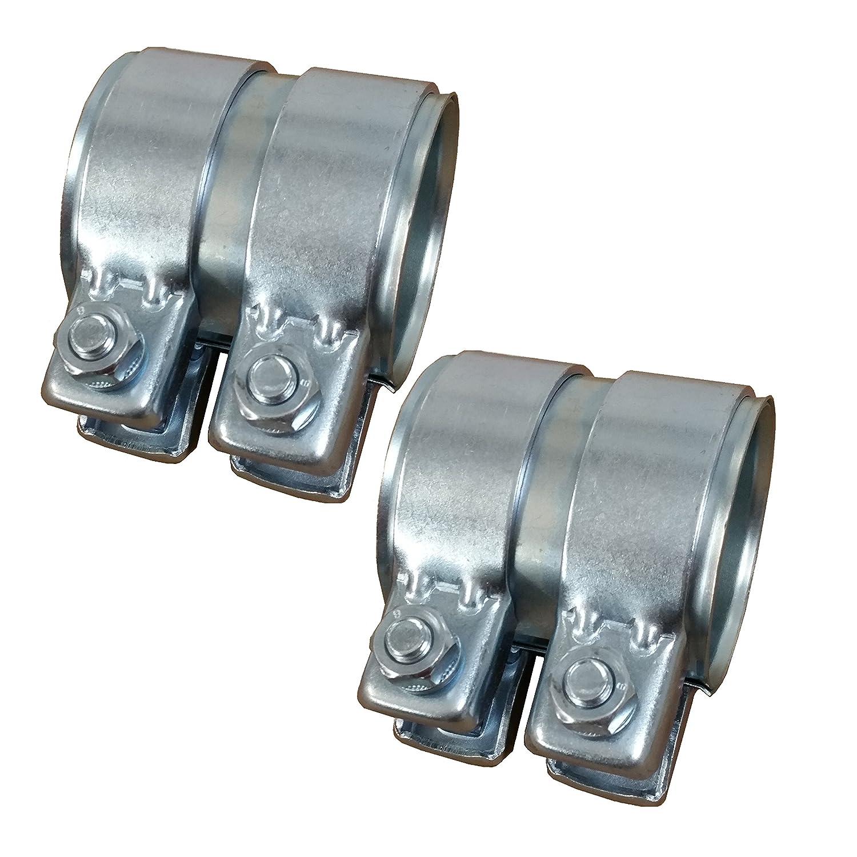 2x BayWorld Auspuff Universal Rohrverbinder 45x49,5x125mm Doppelschelle 45x125mm