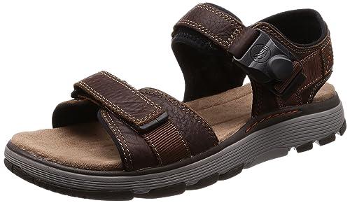 bab83f6c3 Clarks Men s Un Trek Part Dark Tan Lea Leather Floaters-10 UK India (