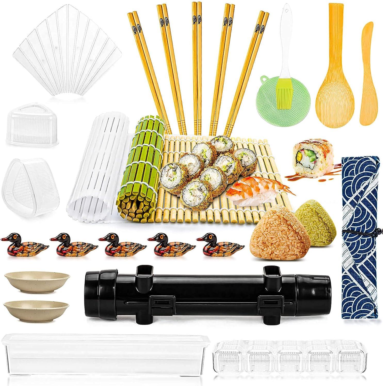 CARGEN-DIY Sushi Making Kit Sushi-Maker-Mat - 26pcs in 1 Sushi Set With Sushi Roll, Bamboo Chopsticks, Chopsticks Holder, Dipping Sauce Dish, Bamboo Mat, Sushi Mold, Sushi Bazooka for Home Sushi Tools