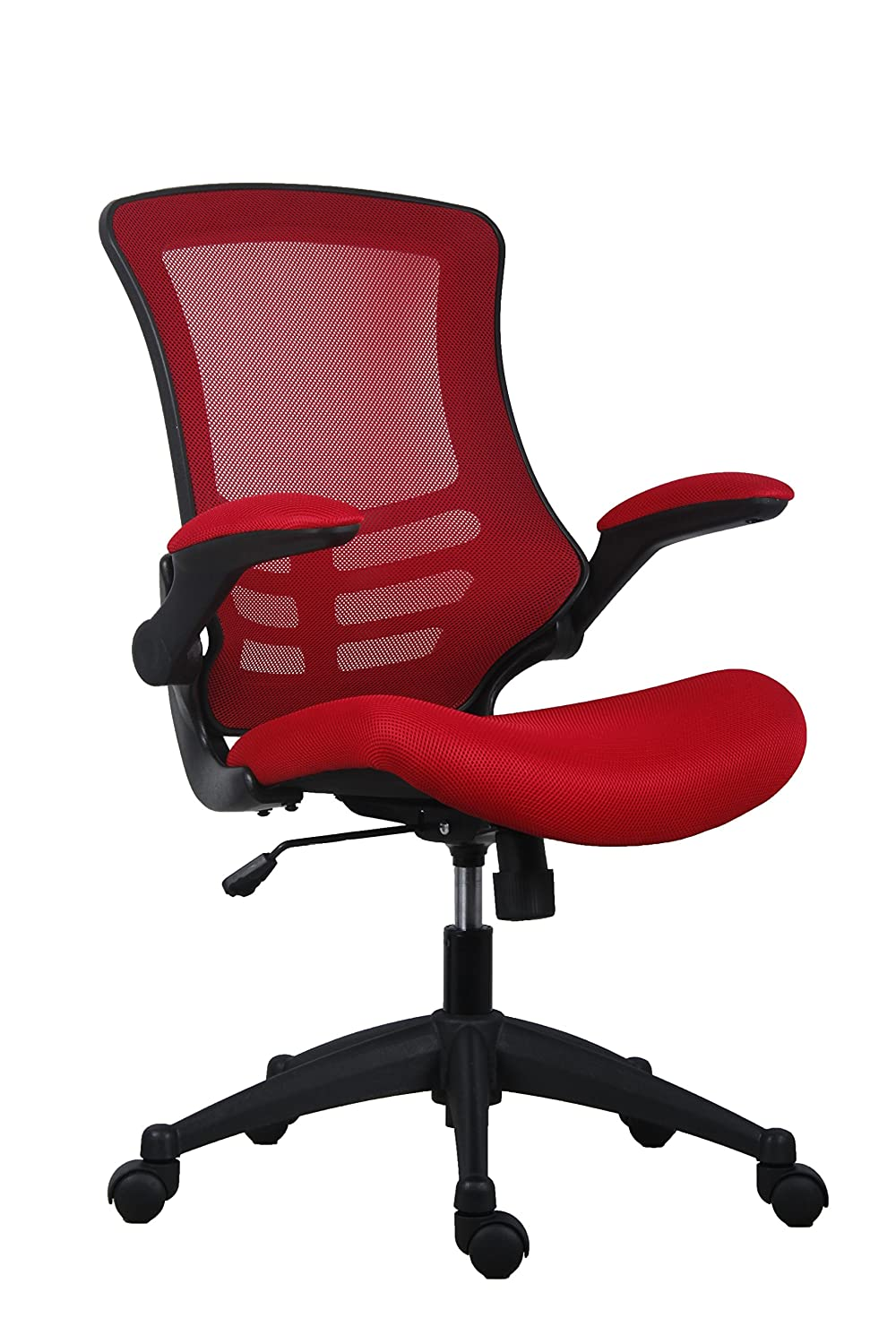 Office Hippo Barlow Mesh Chair with Folding Arms, Black, One Size OHS0790BK