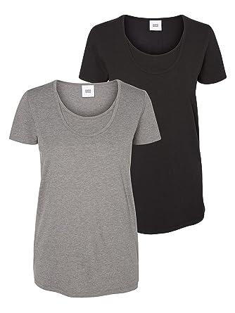 1ea4802e4c8 Mamalicious 2 Pack Short Sleeve Organic Cotton Nursing Tops Black & Grey  Large: Amazon.co.uk: Clothing