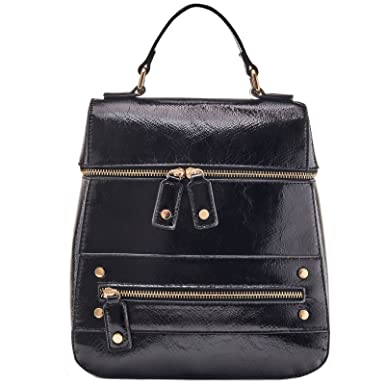 fb182ef072a0 Amazon.com  Dream Control Slim Sleek Dressy Vegan Leather Backpack Satchel  Handbag Black  Clothing