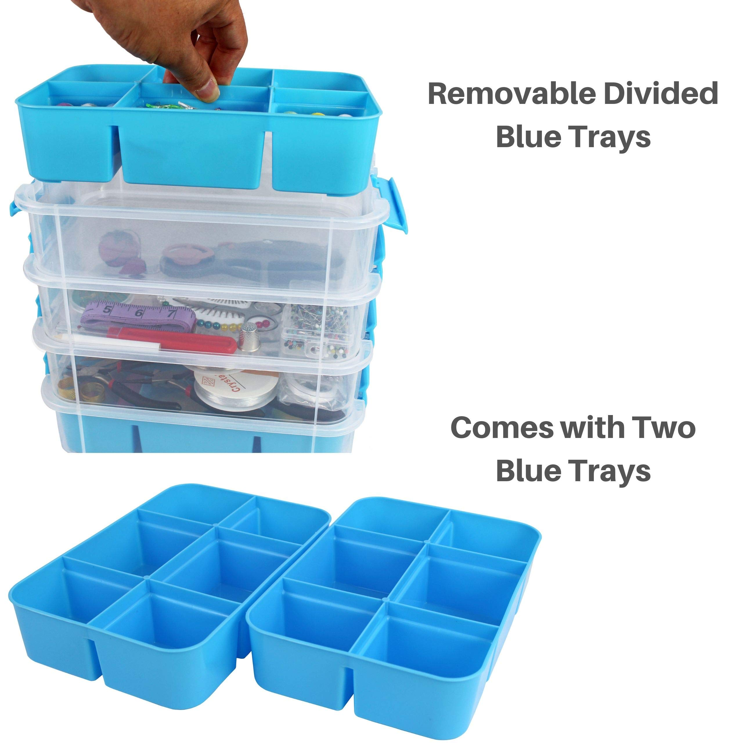 Stackable Plastic Storage Containers by Bins & Things | Plastic Storage Bin with 4 Trays | Bins for Arts Crafts Supplies | Jewelry Making Storage Box | Portable Storage Box