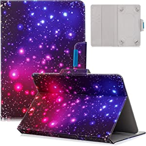 9.5-10.5 inch Universal Case, Dteck Slim Light PU Leather Protective Case with [Card Slots] Pretty Cute Cartoon Folio Flip Stand Wallet Case Cover for All 9.5-10.5 inch Tablet,Star Night
