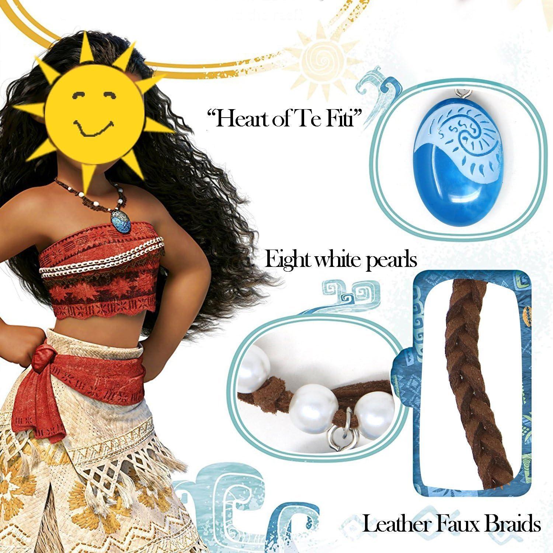Princesse Moana Collier Fleur Pince à Cheveux Ensemble Cadeau Costume Prop cœur de te Fiti
