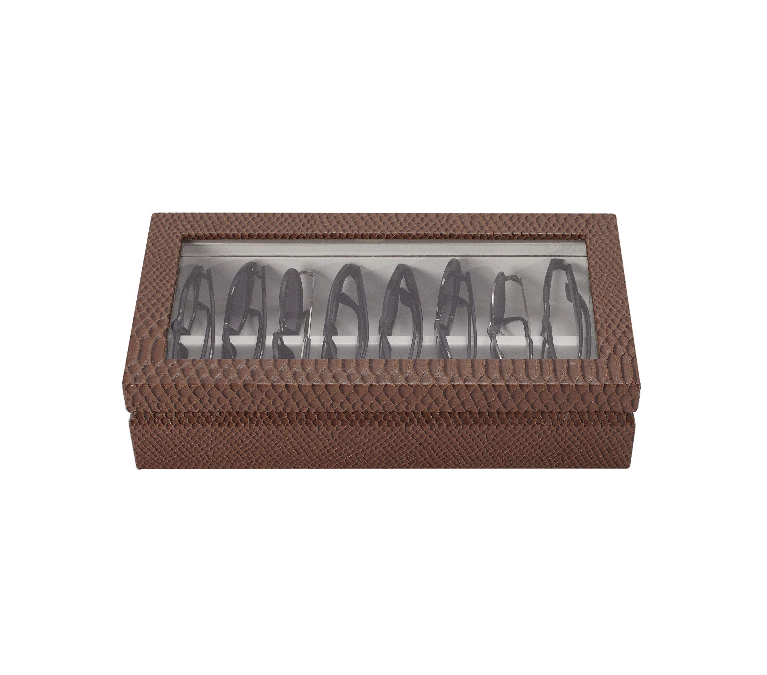 OYOBox Maxi Luxury Eyewear Organizer, Lacquered Wood Box for Glasses + Sunglasses (Chocolate Croc)
