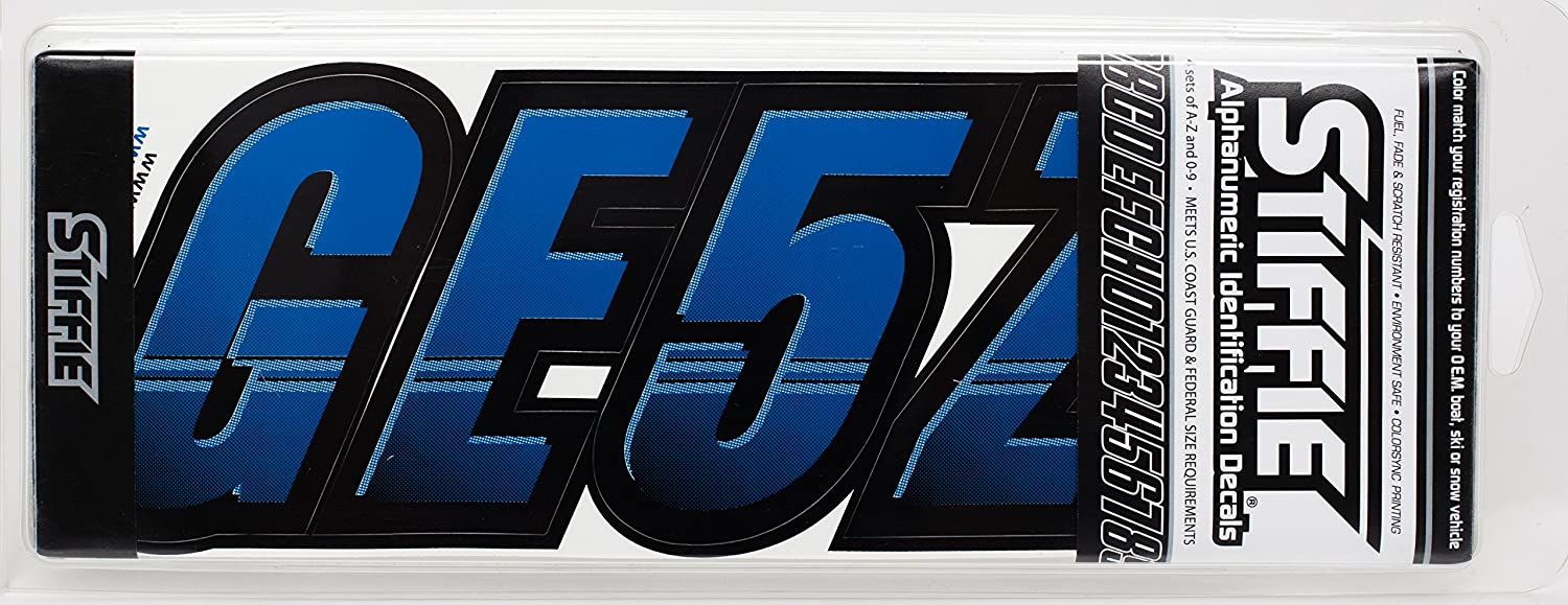 Stiffie Techtron Blue//Black 3 Alpha-Numeric Registration Identification Numbers Stickers Decals for Boats /& Personal Watercraft