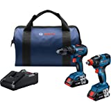Bosch GXL18V-233B25 18V 2-Tool Combo Kit with 1/2 In. Hammer Drill/Driver, Freak 1/4 In. and 1/2 In. Two-in-One Bit/Socket Im