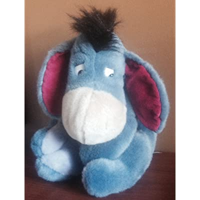 "Eeyore Plush Toy with Pink Ears & Ribbon on Detachable Tail 15"" Collectible: Toys & Games"